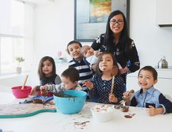 Designer Lisa Canning, of Blueprints for a Beautiful Life, with her six children. (Dann Tardiff Photography)