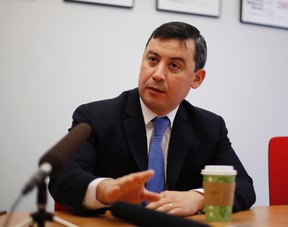Federal Conservative leadership candidate Michael Chong is shown during an interview with The Canadian Press in Ottawa on May 3, 2017. Chong says his party is partly to blame for the fact his campaign promise of a revenue-neutral carbon tax is such a tough sell. (THE CANADIAN PRESS/Fred Chartrand)