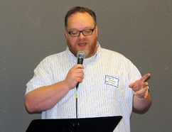 Rev. Dwayne Parsons of First Evangelical Missionary Church, and president of the Pembroke Area Clergy Association, addresses those attending the annual Civic Leaders Appreciation Breakfast, held at the Pembroke Pentecostal Tabernacle on Wednesday.