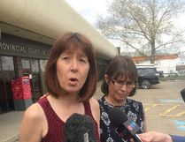 Heather O'Bray speaks to the media outside the Sherwood Park Provincial Courthouse on May 10. Photo by Paula Simons/Postmedia Network