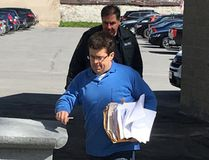Former financial adviser Kevin Wagar enters the Frontenac County Court House for an appeal hearing in Kingston on Wednesday. (Elliot Ferguson/The Whig-Standard)