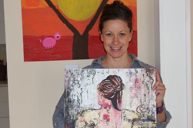<p>Angela Vinet, seen with one of the paintings on Monday May 8, 2017 in Cornwall, Ont., that along with other paintings and donated items will be auctioned off on Friday May 19 during an event to bring more awareness to sexual assault during sexual assault awareness month.</p><p>
