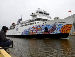 The Chi-Cheemaun ferry departed for her annual spring cruise from Owen Sound to Tobermory on May 4 at Owen Sound. Angler Jonathan Bleich, of Southampton, said he liked the respect shown to the native community with the ship's fresh new, indigenous-inspired bow decal. The 2017 sailing season between Tobermory and Manitoulin Island began May 5. (Scott Dunn/Postmedia Network)