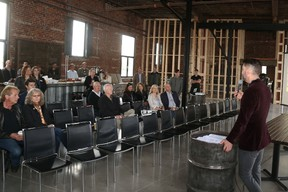 Jason Miller/The Intelligencer Richard Courneyea, pictured here speaking at a event inside the soon to be opened Signal Brewery, was the recipient of a $100,000 federal grant in the support of the craft beer project which opens this summer.