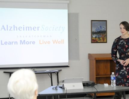 Abby Wolfe, public awareness co-ordinator for the Alzheimer Society of Saskatchewan talked to people in Nipawin about types of dementia and how to recognize it.
