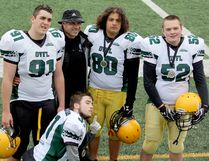 Several North Bay Jr. Varsity Bulldogs took part in theOntario Varsity Football League's annual all-star game in Hamilton, Saturday, including Philip Fortin, Doug Steringa, Kaiden Peldjak, Brant Macleod and Brayden Campbell. Shelly Campbell Photo