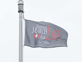 The March For Life flag flew briefly at Ottawa City Hall Thursday. ERROL MCGIHON / POSTMEDIA