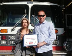 Grade 9 student Shayla Plante received a certificate of bravery from Carman-Dufferin Fire Department fire chief Ben Vanderzwaag on April 18 at the Fire Hall. (SUPPLIED PHOTO)