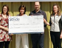 Left to right: Ashley Tully, Oakville community hall fundraising chair, Audrey Wilkinson, Concentra Financial associate vice president, Brent Budz, CEO of Stride Credit Union, Dana Grant Stride employee. (Portage Daily Graphic)