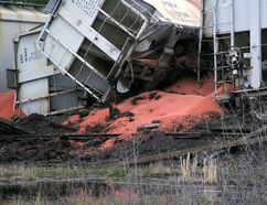 A train is derailed alongside the Bawlf Cemetery in Bawlf, Alta. on Saturday May 13, 2017. Josh Aldrich/Camrose Canadian