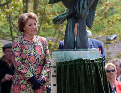 Princess Margriet of the Netherlands looks at the statue of the wounded bird in the Dutch Memorial Garden on Sunday, May 14, 2017 in Stratford, Ont. Terry Bridge/Beacon Herald/Postmedia Network