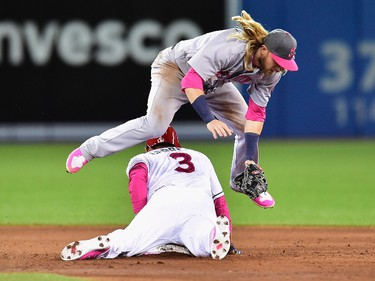Toronto Blue Jays outfielder Ezequiel Carrera (3) is caught stealing by Seattle Mariners second baseman Taylor Motter (21) during sixth inning American League baseball action in Toronto, Sunday, May 14, 2017. THE CANADIAN PRESS/Frank Gunn ORG XMIT: FNG517