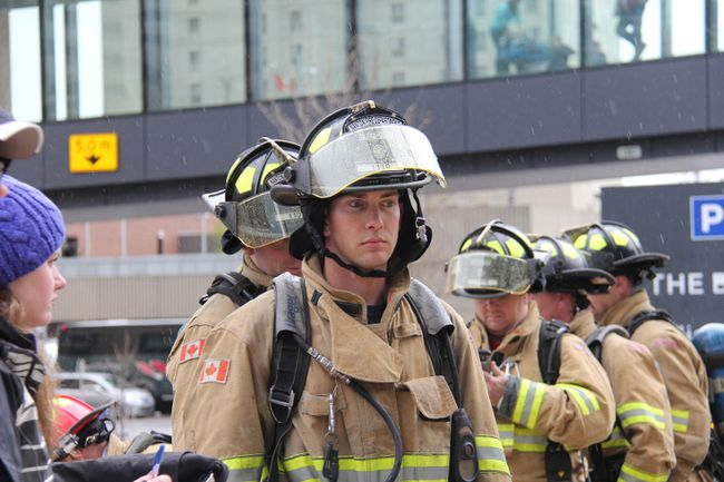 Nanton firefighters took part in the Firefighter Stairclimb Challenge, held May 7 at the Bow tower in downtown Calgary. Jamie Vang focuses as he prepares at the start line before making his way up the Bow tower. Vang finished with a time of 15 minutes.