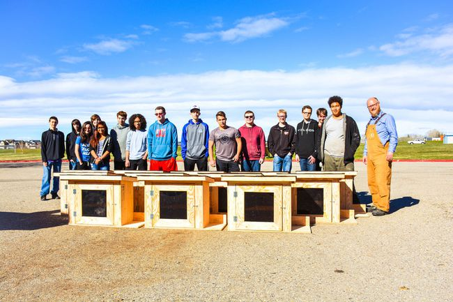 PHOTO COURTESY OF THE FOOTHILLS SCHOOL DIVISION. Grade 10 industrial arts students at Ècole Highwood High School built the 30 Book Bungalows that have been distributed and will be installed on private and public land throughout the town in the coming weeks.