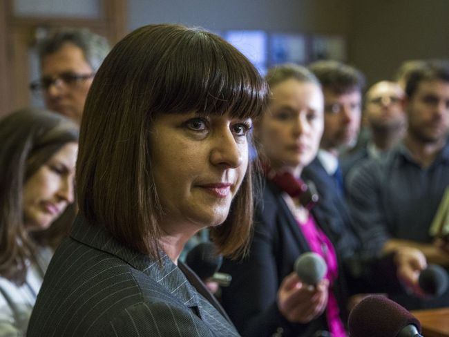 Marie-France Lalonde, Ontario's new Minister of Community Safety and Correctional Services, talks to media at Queen's Park in Toronto on January 12, 2017. (Ernest Doroszuk/Toronto Sun/Postmedia Network)