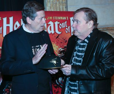 Toronto Mayor John Tory stops by to welcome Meat Loaf to Toronto Monday May 15, 2017. The musical version of his 1977 album Bat Out of Hell opens at the Ed Mirvish Theatre on Oct. 14.Veronica Henri/Toronto Sun/Postmedia Network