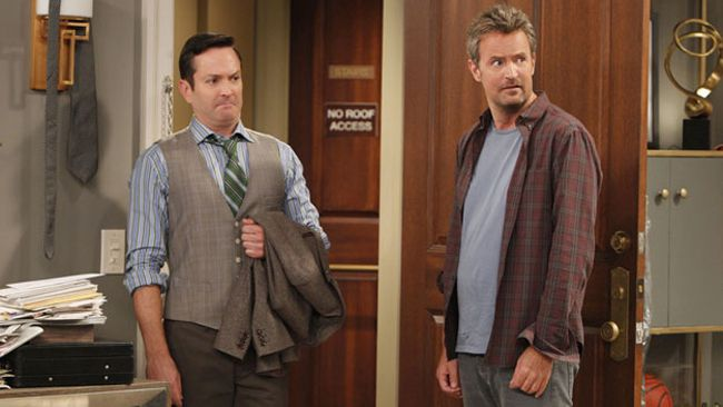 "Thomas Lennon, left, and Matthew Perry star in CBS' ""The Odd Couple."" (CBS photo)"