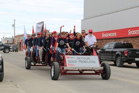 Detour Lake Peddlers were the first bike load to circle the downtown core. The team managed to raise around $5,000 for the Heart and Stroke.
