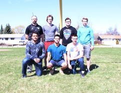 Back (L to R) coach Dave Rogers, Carter Hiebert, Levi Vedress and Braden Olson; front (L to R) Adam Meyers, Troy Taylor and Riley Gibson will all be a part of the SMP Senior Bowl in Saskatoon on Monday, May 22.