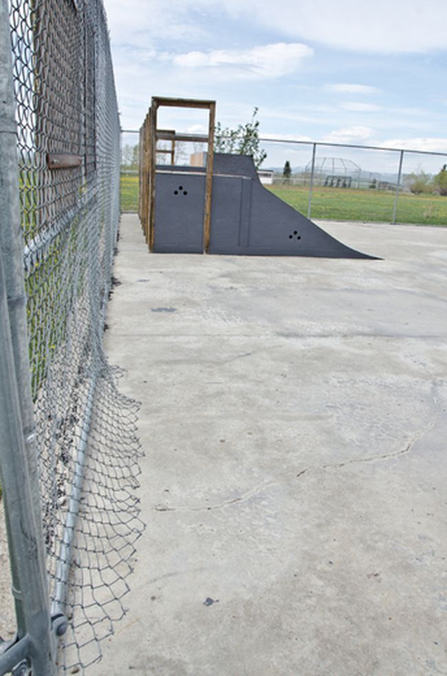 Fences are being damaged as skaters sneak in past the gates after hours, according to a letter from a concerned resident. | Caitlin Clow photo/Pincher Creek Echo