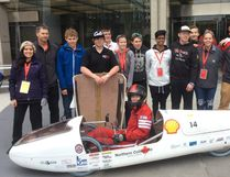 Northern Collegiate's Eco-Team stand beside their vehicle, The Rover, at Shell's Eco-Marathon Americas competition, which took place from April 27 to 30 in Detroit. Handout/Sarnia This Week
