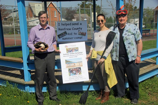 Family and Children's Services of Renfrew County officially kicked off their 2017 Summer Smiles Campaign on May 16. In photo (left to right) are City of Pembroke councillor John McCann, FCS executive director Arijana Haramincic and FCS fund development coordinator Dave Henderson.