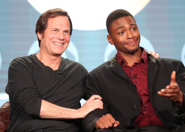 Actors Bill Paxton, left, and Justin Cornwell of the television show 'Training Day' speak onstage during the CBS portion of the 2017 Winter Television Critics Association Press Tour at the Langham Hotel on January 9, 2017 in Pasadena, California. (Frederick M. Brown/Getty Images) Restrictions