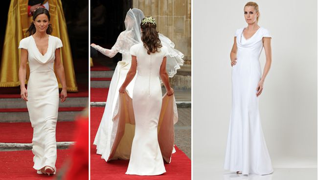 The bridesmaid dress: The form-fitting Alexander McQueen bridesmaid dress that catapulted Pippa Middleton (and her stunning posterior) into the spotlight sparked a flurry of copycat dresses. JS Collections created a dress inspired by Pippa Middleton's bridesmaid gown, pictured at right. (ARL DE SOUZA/AFP/Getty Images and JS Collections handout photo)