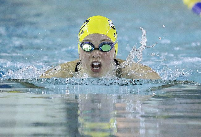 Ali Bertrim of the Sudbury Laurentian Swim Club takes part in the girls 200 meter breaststroke event at the SLSC Spring Invitational at the JENO TIHANYI Olympic Gold Pool at Laurentian University, in Sudbury, Ont. on Sunday May 14, 2017. Gino Donato/Sudbury Star/Postmedia Network