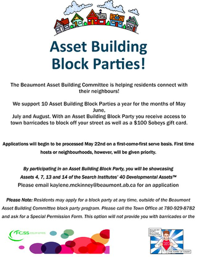 Beaumont FCSS will start reviewing applications for ten local block parties, supported with a $100 Sobeys Gift Card on May 22.