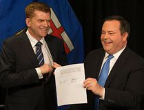 Wildrose Party leader Brian Jean and Alberta PC leader Jason Kenney announce that they have reached a deal to merge the parties and create the United Conservative Party, during a press conference in Edmonton Thursday May 18, 2017. Photo by David Bloom