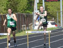 Maddie Eybergen, middle, competes in the junior girls 300-metre hurdles at the CWOSSA championships in Kincardine on Thursday. Eybergen won the race. (Rob Gowan The Sun Times)