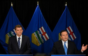 Brian Jean and Jason Kenney announce plans to United Conservative Party. (David Bloom/Edmonton Sun)