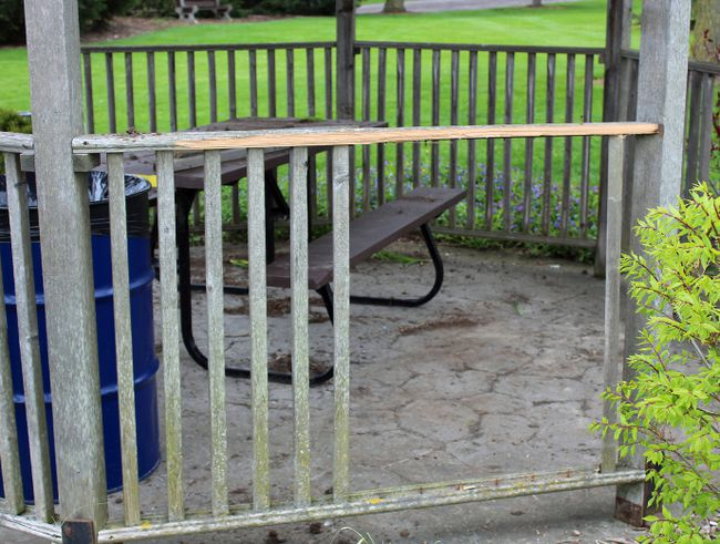 Spindles were broken in the gazebo of Morenz Memorial Gardens in Mitchell early last week. SUBMITTED