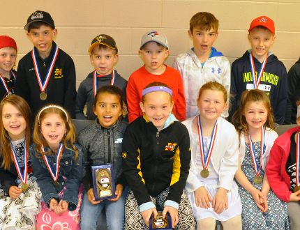 Back row (left): Novice rep Ethan Jarmuth, MVP; Jonah Gibbings, most improved; Braden Hoegy, most dedicated and Bryce Dixon, most sportsmanlike; Carter Miller, Novice LL most improved; Zack Siemon-Hergott, MVP; Isaak Smith, most sportsmanlike and Charlie Wolfe, most dedicated. Front row (left): Novice girls 'B' Heather Ogilvie, most dedicated; Camryn Medhurst, most sportsmanlike; Ava Harmer, most improved; Kara Rolph and Ashley McLeod, MVP; Novice girls HL Haileigh Templeman, most dedicated; Kayla Visneskie, most sportsmanlike; Maren Marshall, most improved and Abigayle Van Bakel, MVP. ANDY BADER/MITCHELL ADVOCATE
