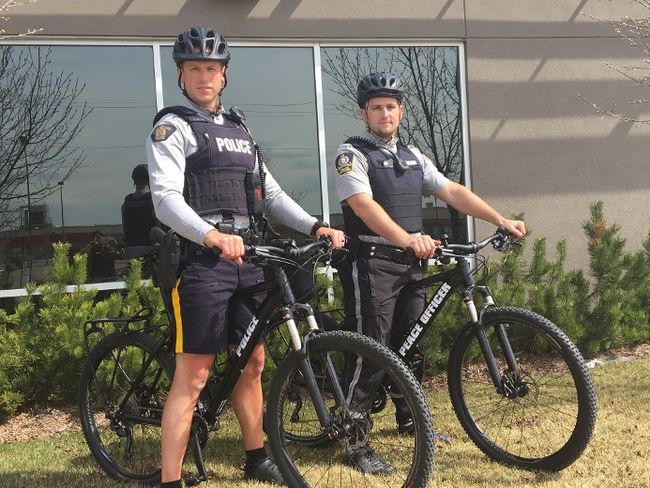 Cst. Dan Martin (RCMP) and Community Peace Officer Steve Benoit (Municipal Enforcement) on their bikes as part of the bike patrol that is back for another season.