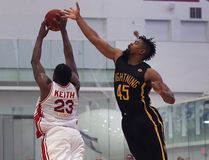 Shaquille Keith, left, of the Windsor Express and Marvin Phillips of the London Lightning battle for the ball during their game Thursday, May 18, 2017, at the Atlas Tube Centre Arena in Lakeshore, ON. (DAN JANISSE/The Windsor Star)