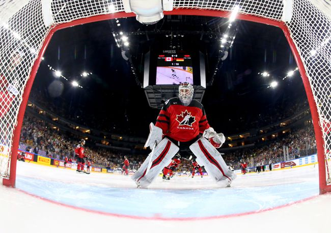 Calvin Pickard, goaltender of Canada reacts during the 2017 IIHF Ice Hockey World Championship quarter final game between Canada and Germany at Lanxess Arena on May 18, 2017. (Martin Rose/Getty Images)