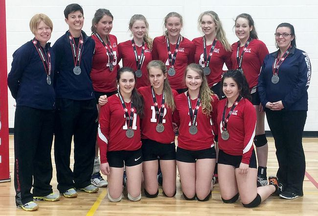 The Twin Bridges 15U Thunder Boom won silver medals at the Eastern Canadian 15-and-under girls volleyball championship recently in Waterloo. The team members are, front row, left: Alyssa Gagne, Megan Prinsen, Julia Donais and Mia Dicooco. Back row: coach Kimberly Bueckert, coach Katrina Cadotte, Sam Bedard, Emma Wells, Sydney Livingston, Teighan Pite, Ally Molson and coach Katie Riddell. Chris Kingma is absent. (Contributed photo)