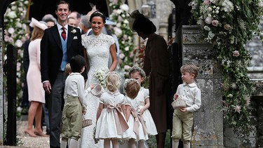 Pippa Middleton and James Matthews smile after their wedding at St. Mark's Church on May 20, 2017 in in Englefield, England. (Kirsty Wigglesworth - Pool/Getty Images)