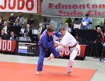 Photo supplied by Declan Harding Declan Harding, dressed in white, competes at a Judo tournament in Edmonton. Harding is heading to Calgary next week to fight in the Canadian national tournament.