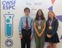 Submitted Photo Felipe Martinez, Meera Moorthy, Lauren Bunt competed at the Canada-wide Science Fair held this past week in Regina, Sask. Both Moorthy and Bunt picked up bronze medals at the final awards ceremony.