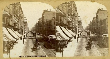 Photography was a relatively new process when these two slightly offset images were taken to become a stereoscopic card showing King St. looking east to Yonge St. This unique card, from the Toronto Public Library collection, was produced by Charles Bierstadt, whose photo publishing business opened in Niagara Falls, N.Y., in 1863. While it's difficult to date the images with any precision, the photo features a couple of clues that at least narrow the range of years. For instance, the fact there are horsecars in operation means it was taken sometime in or after 1874, the year the privately-owned Toronto Street Railway Co. established the King route, the city's third.  The King line (numbers weren't applied for many years) initially operated from the Don River to Bathurst St., and over the ensuing years was extended several times. With 1874 as the starting date, the outside date of the photo would have been sometime in 1892, the year the King route was converted to electricity.  Following the creation of the new city-owned TTC in 1921, major changes were made to all the city routes, including several that went into effect July 1, 1923. These latter changes resulted in the route of the King streetcars coming close to the one passengers know today. Suffice it to say, streetcars, in many varieties, have been part of that thoroughfare's history long before the first cars and trucks appeared on the scene.