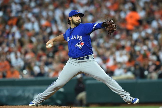 Blue Jays starting pitcher Mike Bolsinger delivers against the Orioles during first inning MLB action in Baltimore on Saturday, May 20, 2017. (Gail Burton/AP Photo)