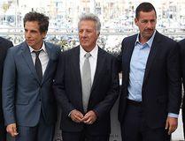 """Actress Emma Thompson, from left, director Noah Baumbach, actors Ben Stiller, Dustin Hoffman, Adam Sandler and Netflix CEO Ted Sarandos pose for photographers during the photo call for the film """"The Meyerowitz Stories"""" at the 70th international film festival, Cannes, southern France, Sunday, May 21, 2017. (AP Photo/Alastair Grant)"""
