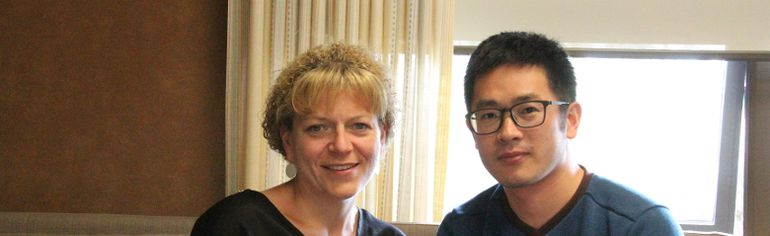 A.B. Daley Elementary School principal Audrey Kluin (left) poses with Chinese exchange teacher Davis Huan. The school took in a teacher and two students from China. The guests arrived in Nanton March 20 and will leave June 19.