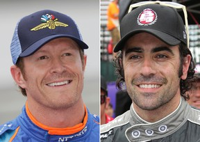At left, in a May 20, 2017, file photo, IndyCar driver Scott Dixon, of New Zealand, smiles after qualifying for the Indianapolis 500 in Indianapolis. At right, in a May 31, 2013, file photo, Dario Franchitti, of Scotland, smiles after winning the pole position for the Detroit Grand Prix auto race on Belle Isle in Detroit. (AP Photo/File)