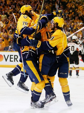 Pontus Aberg of the Nashville Predators celebrates with teammates after scoring a goal against the Anaheim Ducks during Game 6 of the Western Conference Final at Bridgestone Arena on May 22, 2017. (Frederick Breedon/Getty Images)
