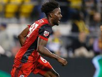 Toronto FC's Tosaint Ricketts celebrates his goal against the Columbus Crew during the second half of an MLS soccer match Wednesday, May 10, 2017, in Columbus, Ohio. Toronto won 2-1. (AP Photo/Jay LaPrete) ORG XMIT: OHJL107  Tosaint Ricketts