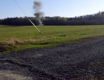 A potential explosive is detonated on property belonging to Laclu resident Richard Bootsveld on Friday, May 12, as shown in a picture taken by his neighbour. The Kenora OPP did not contact Bootsveld about the detonation on his property until Thursday the following week, after he went public with the story. SUPPLIED